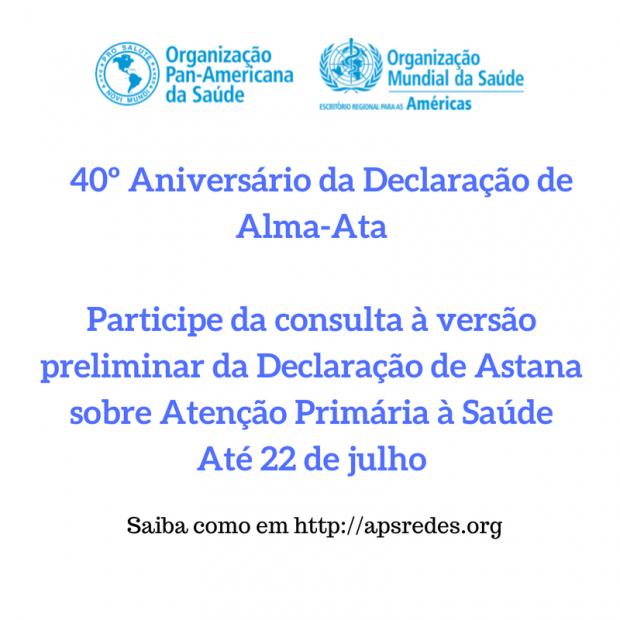 40º Aniversário da Declaração de Alma-Ata: participe da consulta à versão preliminar da Declaração de Astana sobre Atenção Primária à Saúde