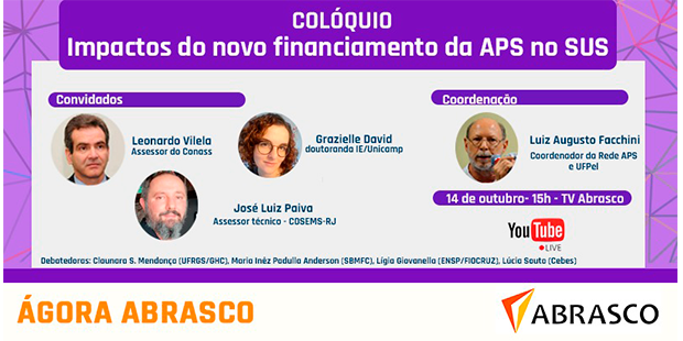 14/10 às 15h – Colóquio –  Impactos do novo financiamento da APS no SUS